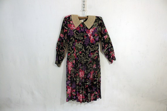 Floral Dress W/Lace Collar M