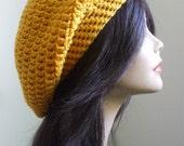 aWesOmE Crochet Slouchy Hat Slouchy Women Tam Cute Winter Hat Men Slouch Hat Sexy Boho All Season Hat GOLDEN YELLOW Handmade Ready to Ship