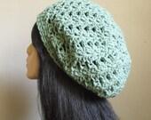 Ooh so lovely Mint Green Crochet Women Slouchy Hat Tam Beret Hat Summer Beach Hat  READY TO SHIP
