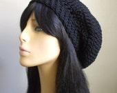 Cute Boho Slouchy Hat // COTTON Midnight Blue Hat // Sexy Hippie Hat // Crochet Women Slouchy Hat // Bohemian Style Hat / Cool Gift Under 25