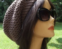 Awesome Crochet Slouchy Hat...Celebrity Style... Hot Womens FALL FASHION....Unisex Men Women Beret Tam....Totally Taupe....Bohemia Fashion