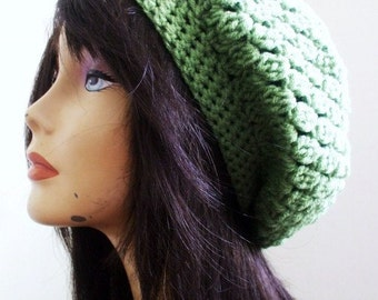 Pretty Crochet Slouchy Hat // SPECIAL EDITION // Boho Slouchy Hat // Tam Winter Women Hat // AVOCADO // Women Winter Hat // Ready to Ship