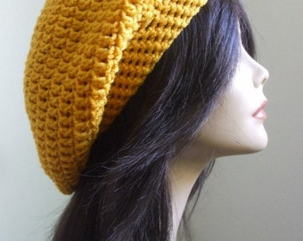 aWesOmE Crochet Slouchy Hat Slouchy Women Tam Cute Winter Hat Men Slouch Hat Sexy Boho All Season Hat GOLDEN YELLOW Handmade Ready to Ship