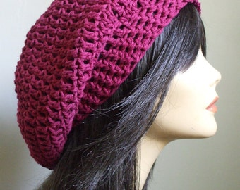 Cute Slouchy Hat // Womens Fall Fashion //  Cute Hat for Winter // Boho Hat // Slouch Hat for Men // Gift for Her // Purple Slouchy Hat