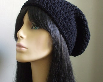 Crazy Cool Crochet Slouchy Beanie Hat Men Women Rocker Slouchy Beanie Hat BLACK Cute Slouch Hat Skater Boy Hat Skater Girl Hat