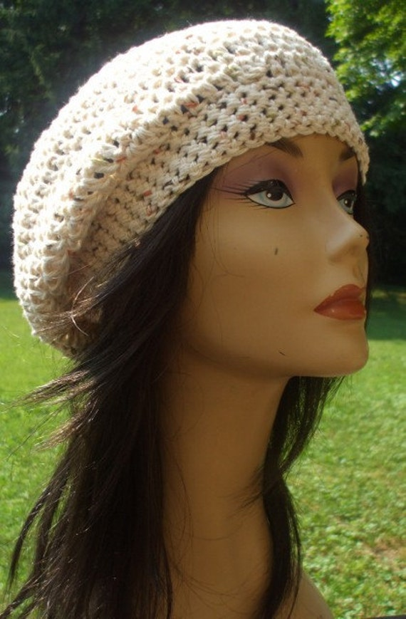 COTTON My Pretty Slouchy Hat Crochet Hat Unisex Tam Beret  CREAM Handmade on Etsy Ready to Ship