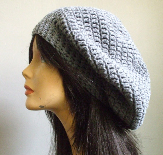 aWeSoMe Crochet Slouchy Hat Beret Tam Women Men Slouchy Hat Heather GRAY Super Cute Woman Hat Ready to Ship Great Gift Idea