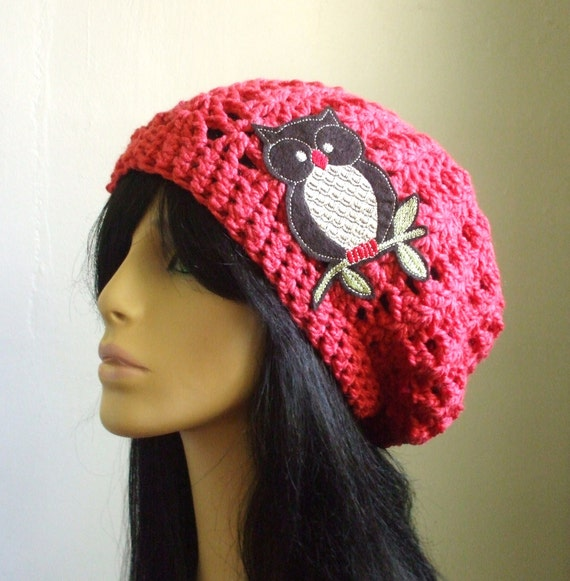 Mr. Owl and Me Super CUTE  Crochet Women Slouchy Hat in PRETTY CORAL