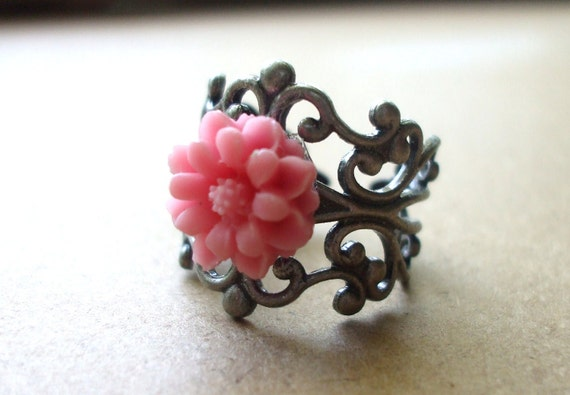 CLOSEOUT SALE  50% OFF Romantic Flower Adjustable  Ring Victorian Inspired Great Gift Idea Pink Flower