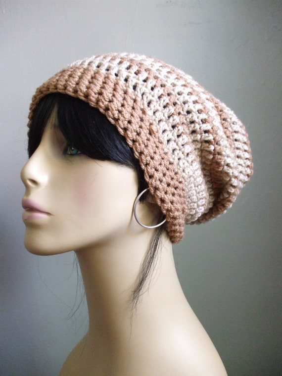 Sexy Girl Extra Slouchy Crochet Hat  Beanie BEIGE and CREAM Women Handmade Rasta Bohemian Chic Hat Ready to Ship