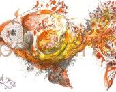 Gold Fish Wall Art - artwork, print of my orginal drawing, wall art, yellow orange tones, floral graphics