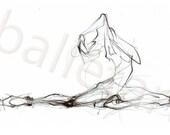ballet art, dance art, pencil sketch, drawing painting, wall art, art print, illustration, Dramatic Role of the Ballerina or Juliet