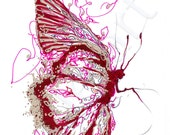 red butterfly, butterfly art, art print, burgundy, wall art, butterfly wings, girls room art, christmas gifts, trending gifts 2015, painting