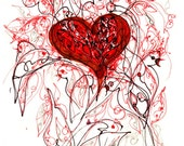 heart of doves - drawing print - wall art