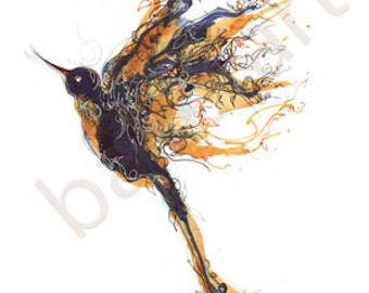 Blue Bird Art Print, sound of the blue bird  from sleeping beauty, Blue Bird Painting, bird wall art, drawing, artwork,