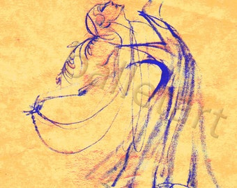 Ballet Art, Ballet Russes, yellow gold, cobalt blue, art deco style, art print, ballerina gift,1920s style, dance teacher gift, artwork