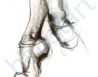 Ballet Slippers, Ballet Art, art print, black and white art, pencil drawing, ballerina gift, prints illustrations, gift for dancer, artwork