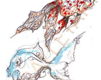 fish artwork, goldfish art, nursery wall art, goldfish print, fish art, fish print, fish wall art, hand drawing, BalletArt, kids room prints