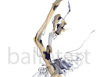 sculpting ballet,  ballet art, wall art print, hand drawing, abstract art, woman figure drawing, wedding gift, gift for bride, fashion art