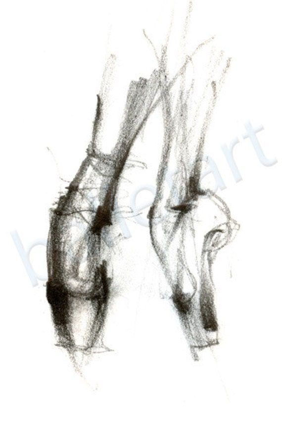 Ballet art, ballet on pointe, art print, pencil drawing, dance art, wall decor -artwork - print of original drawing-interior design