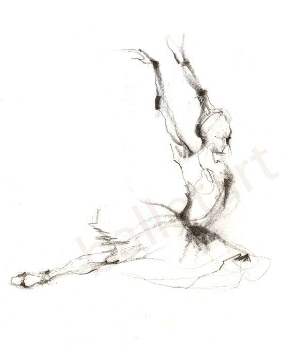 Dance Artwork, Swan Lover - hand drawing, artwork print, ballet art, wall art, pencil drawing, black and white art, pencil sketch