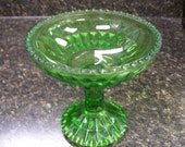 Green cut glass candy dish