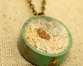 Single Large Bubble Charm Necklace on Bronze Chain 2