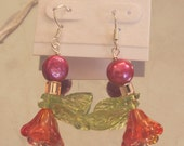 Orange Blossoms Dangle French Hook Earrings
