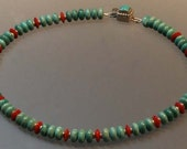 Turquoise, Coral and Sterling Silver Necklace