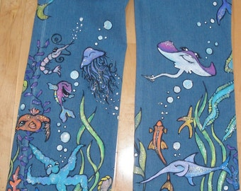 Hand Painted Fishy Jeans for Adults