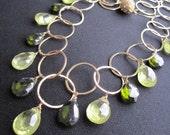 Statement Necklace, Green Zircon Necklace, Green Statement Necklace, Goldfilled, Vermeil