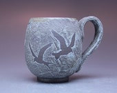 14 oz Mug, Birds in Flight, Antique Copper Blue Glaze - Available to ship now