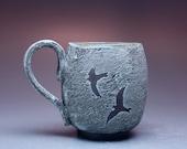 14 oz Mug, Birds in Flight, Antique Copper Blue Glaze - Available to ship now