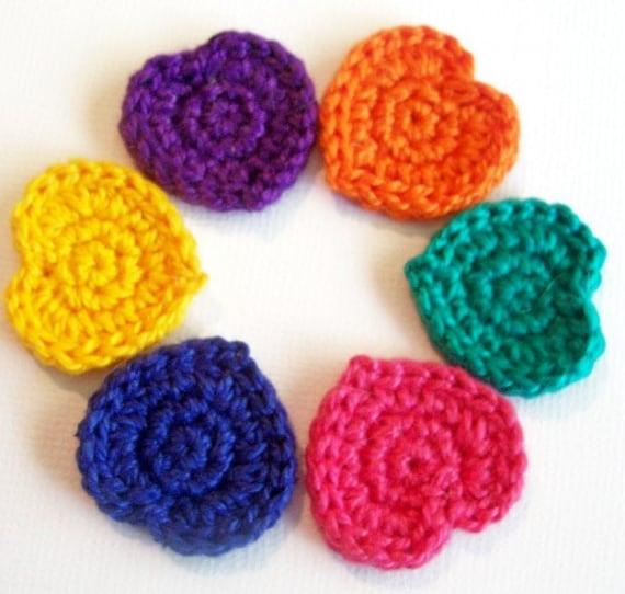 Six Multi Colored Bright Crocheted Heart Appliques