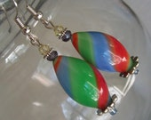SOLD-Multi Color Blown Glass Earring- Spring Summer fashion