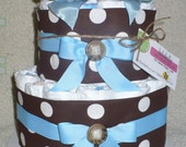 Diaper Cake in Brown and Blue