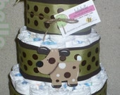 Diaper Cake in Brown and Green