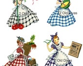Retro 1950s Vintage Style Gingham Girls Decal Set
