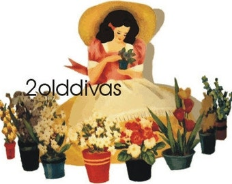 Vintage 1940s Style Garden Gal Canister Decals