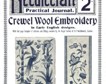Vintage Crewel Embroidery Lessons Needlecraft Practical Journal No 87 Series Digital Download
