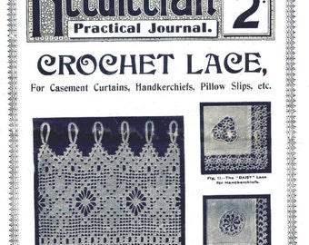 Antique Vintage Crochet Lace Patterns Lessons Needlecraft Practical Journal No 128 Instant Digital Download