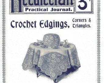 Antique Crochet Edgings Patterns Lessons Needlecraft Practical Journal No 157 Instant Digital Download