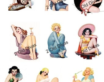 Vintage Style 1940s Waterslide Pinup Decals