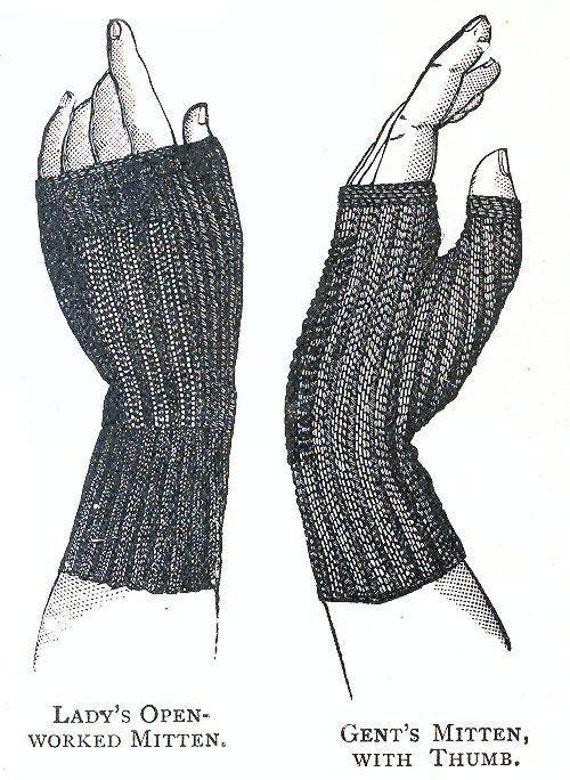 Vintage 1800 Knit Fingerless Glove Pattern PDF Download