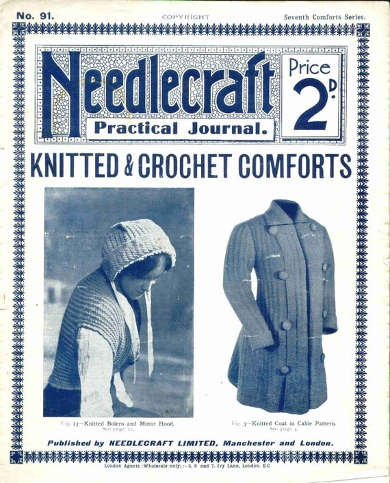 Antique Vintage Knitt Clothing Patterns Needlecraft Practical Journal No 91 Instant Digital Download