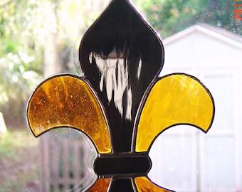 Handmade Stained Glass Fleur De Lis Suncatcher Black and Gold Colors SAINTS