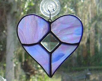 Iridescent Lavender Stained Glass Heart  Suncatcher with Cut Glass Bevel VALENTINES GIFT