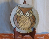 vintage pottery owl plate