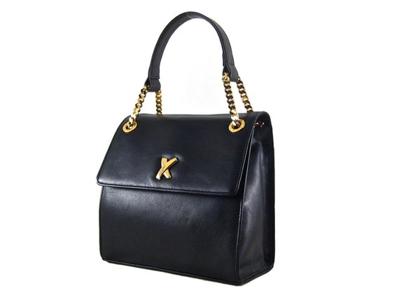 Paloma Picasso Vintage Black Leather Gold Chain Handbag