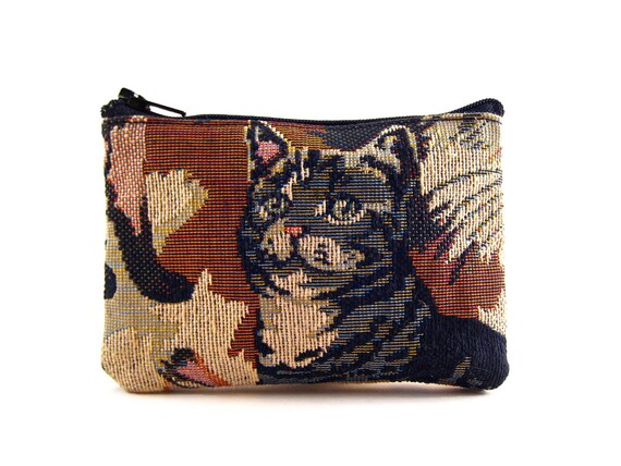 Vintage Cat Tapestry Novelty Zip Coin Change Wallet Kittens